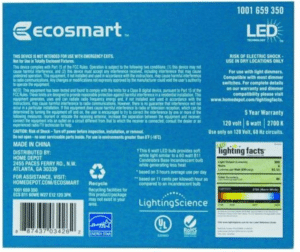 Ecosmart 60 watt candelabra light bulbs